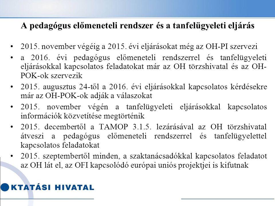 A pedagógus előmeneteli rendszer és a tanfelügyeleti eljárás 2015. november végéig a 2015. évi eljárásokat még az OH-PI szervezi a 2016. évi pedagógus