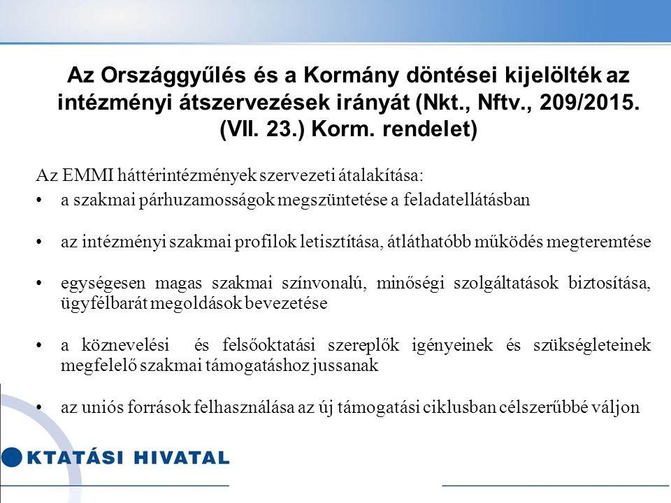 Az Országgyűlés és a Kormány döntései kijelölték az intézményi átszervezések irányát (Nkt., Nftv., 209/2015. (VII. 23.) Korm. rendelet) Az EMMI háttér