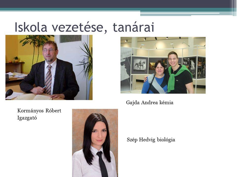 Iskola vezetése, tanárai Iga Gajda Andrea kémia Kormányos Róbert Igazgató Szép Hedvig biológia
