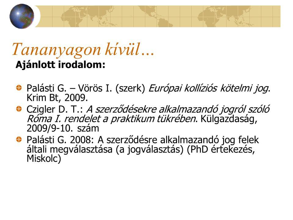 Tananyagon kívül… Ajánlott irodalom: Palásti G. – Vörös I. (szerk) Európai kollíziós kötelmi jog. Krim Bt, 2009. Czigler D. T.: A szerződésekre alkalm