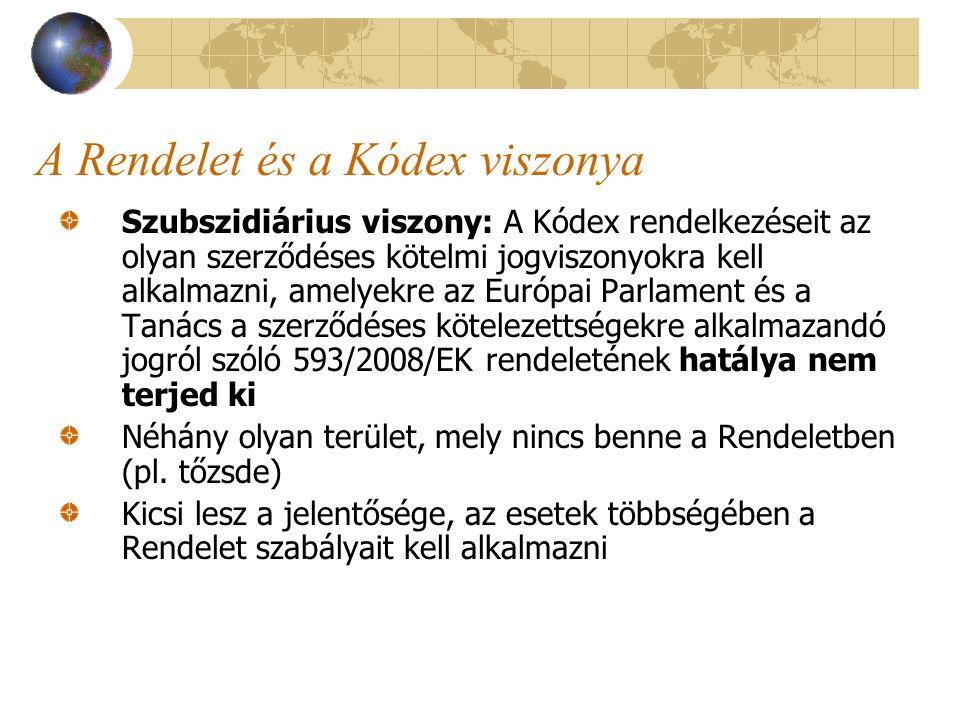A Rendelet és a Kódex viszonya Szubszidiárius viszony: A Kódex rendelkezéseit az olyan szerződéses kötelmi jogviszonyokra kell alkalmazni, amelyekre a