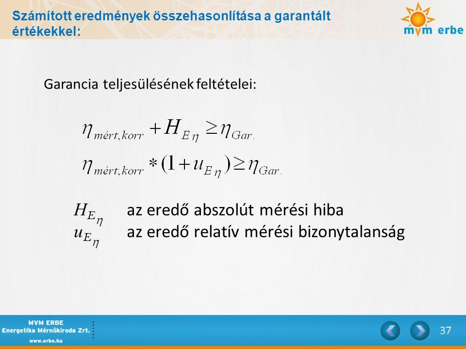 Számított eredmények összehasonlítása a garantált értékekkel: Garancia teljesülésének feltételei: H E  az eredő abszolút mérési hiba u E  az eredő r