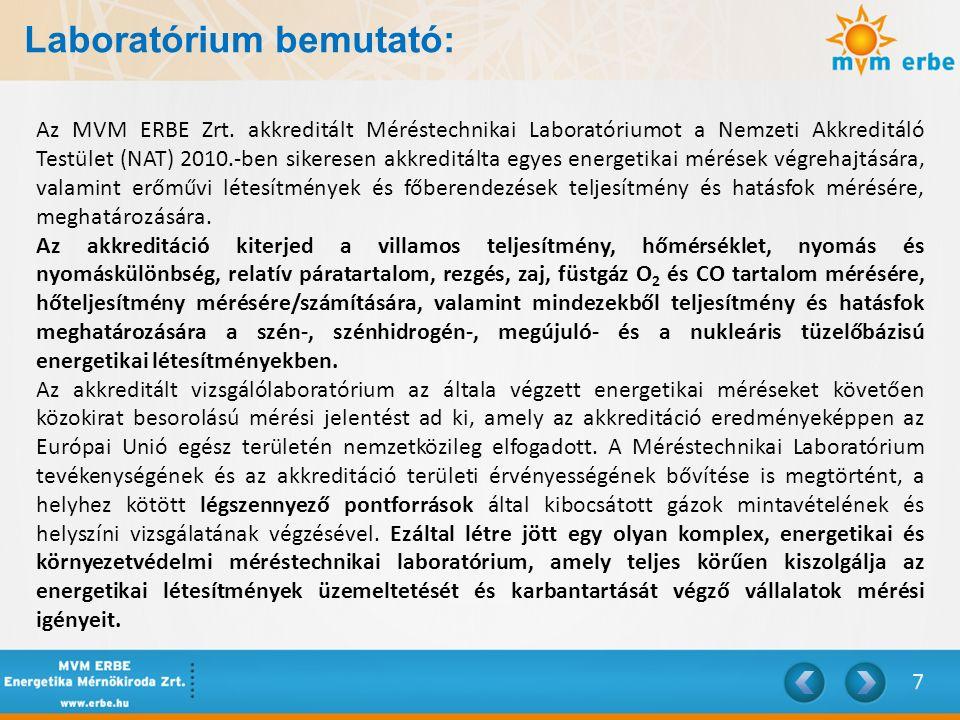 Laboratórium bemutató: Az MVM ERBE Zrt. akkreditált Méréstechnikai Laboratóriumot a Nemzeti Akkreditáló Testület (NAT) 2010.-ben sikeresen akkreditált