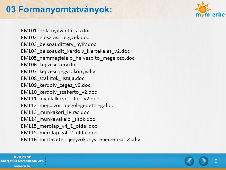 03 Formanyomtatványok: EML01_dok_nyilvantartas.doc EML02_elosztasi_jegyzek.doc EML03_belsoauditterv_nyilv.doc EML04_belsoaudit_kerdoiv_kiertekeles_v2.
