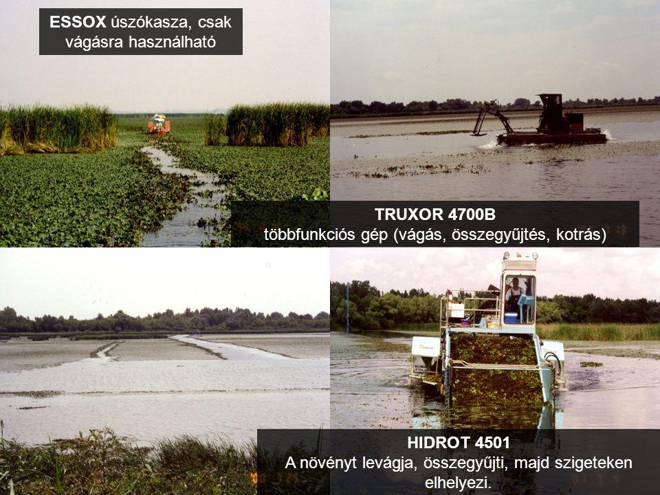 ESSOX úszókasza, csak vágásra használható TRUXOR 4700B többfunkciós gép (vágás, összegyűjtés, kotrás) HIDROT 4501 A növényt levágja, összegyűjti, majd szigeteken elhelyezi.