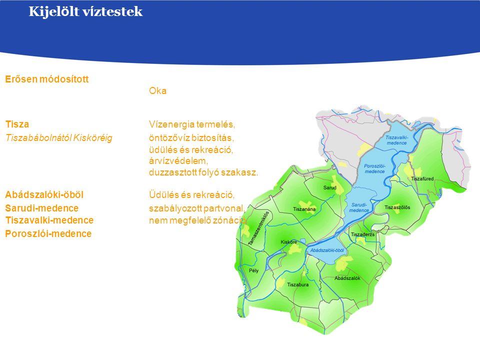 Kijel ö lt v í ztestek Erősen módosított Oka Tisza Vízenergia termelés, Tiszabábolnától Kisköréig öntözővíz biztosítás, üdülés és rekreáció, árvízvédelem, duzzasztott folyó szakasz.