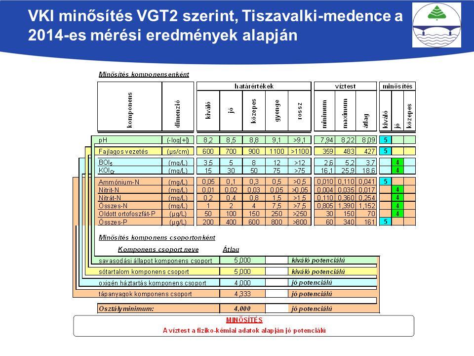 VKI minősítés VGT2 szerint, Tiszavalki-medence a 2014-es mérési eredmények alapján