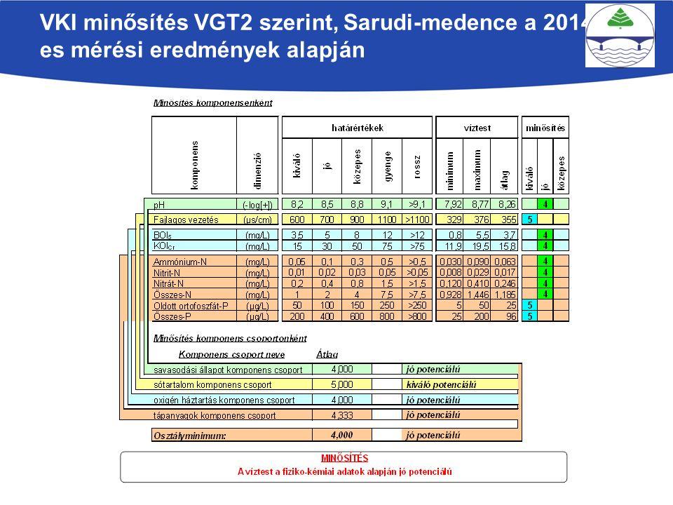 VKI minősítés VGT2 szerint, Sarudi-medence a 2014- es mérési eredmények alapján