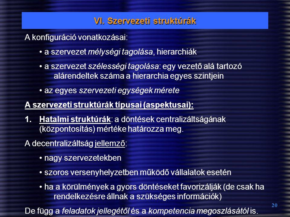 20 VI. Szervezeti struktúrák A konfiguráció vonatkozásai: a szervezet mélységi tagolása, hierarchiák a szervezet szélességi tagolása: egy vezető alá t