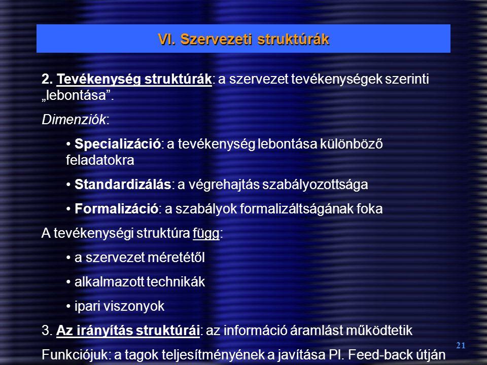 """21 VI. Szervezeti struktúrák 2. Tevékenység struktúrák: a szervezet tevékenységek szerinti """"lebontása"""". Dimenziók: Specializáció: a tevékenység lebont"""