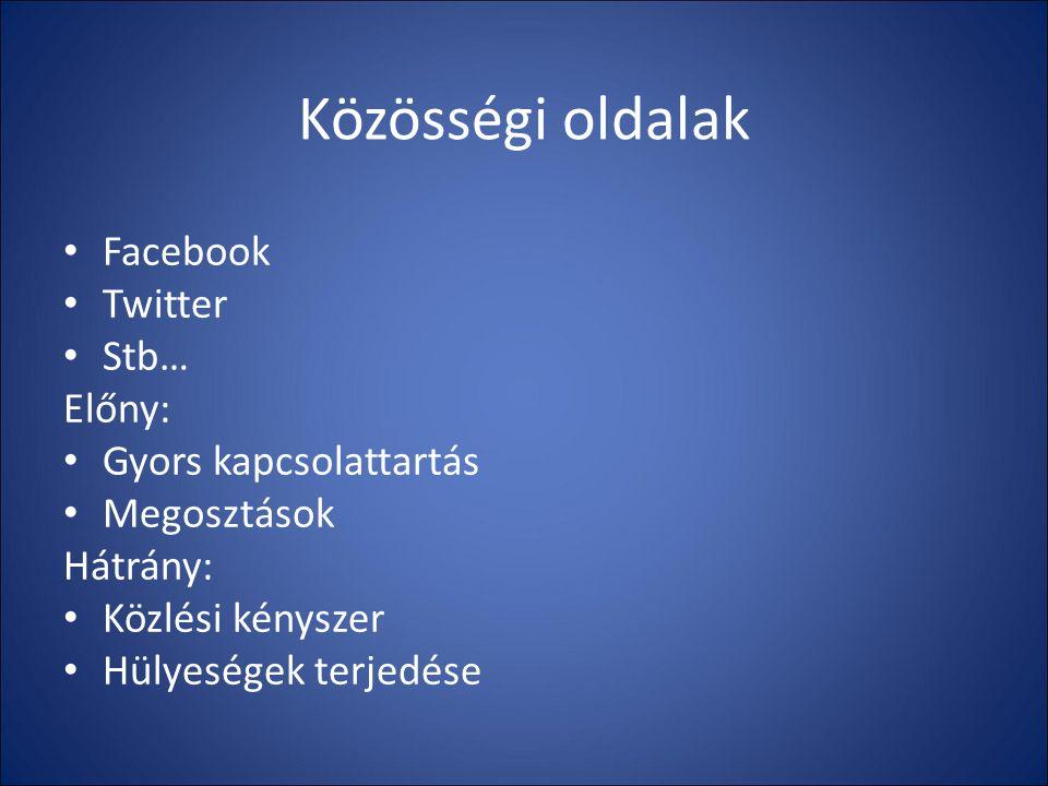 Közösségi oldalak Facebook Twitter Stb… Előny: Gyors kapcsolattartás Megosztások Hátrány: Közlési kényszer Hülyeségek terjedése