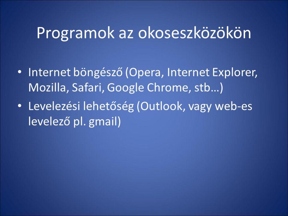 Programok az okoseszközökön Internet böngésző (Opera, Internet Explorer, Mozilla, Safari, Google Chrome, stb…) Levelezési lehetőség (Outlook, vagy web-es levelező pl.