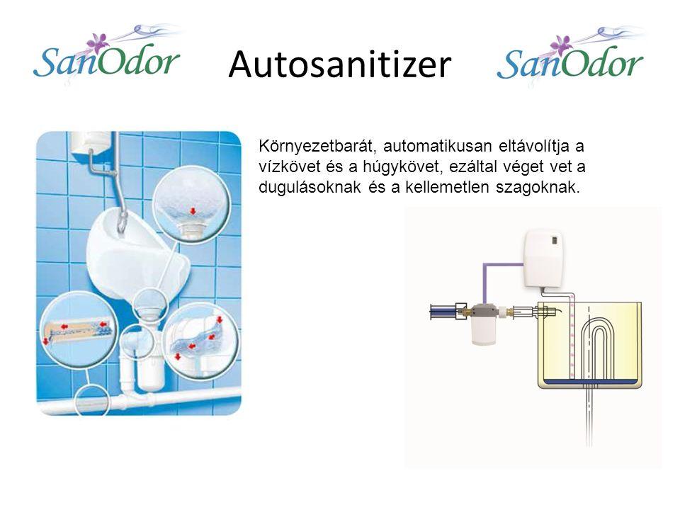 Autosanitizer Környezetbarát, automatikusan eltávolítja a vízkövet és a húgykövet, ezáltal véget vet a dugulásoknak és a kellemetlen szagoknak.