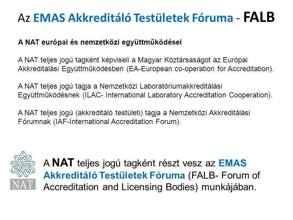 Az EMAS Akkreditáló Testületek Fóruma - FALB A NAT európai és nemzetközi együttműködései A NAT teljes jogú tagként képviseli a Magyar Köztársaságot az