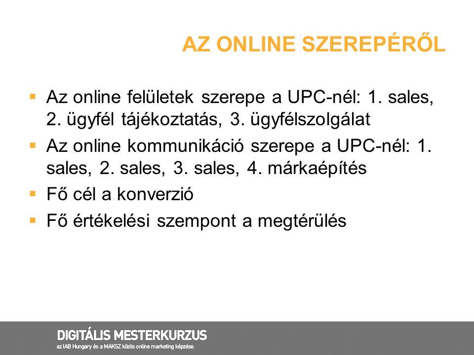 AZ ONLINE SZEREPÉRŐL  Az online felületek szerepe a UPC-nél: 1. sales, 2. ügyfél tájékoztatás, 3. ügyfélszolgálat  Az online kommunikáció szerepe a