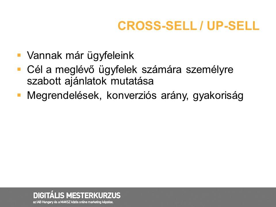 CROSS-SELL / UP-SELL  Vannak már ügyfeleink  Cél a meglévő ügyfelek számára személyre szabott ajánlatok mutatása  Megrendelések, konverziós arány,
