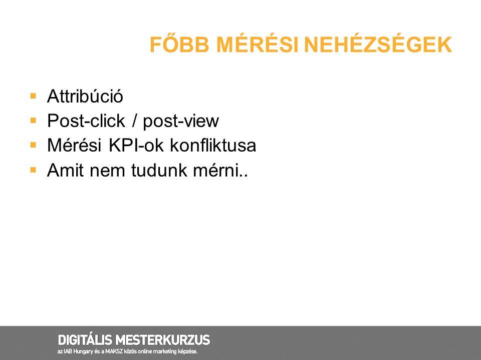 FŐBB MÉRÉSI NEHÉZSÉGEK  Attribúció  Post-click / post-view  Mérési KPI-ok konfliktusa  Amit nem tudunk mérni..