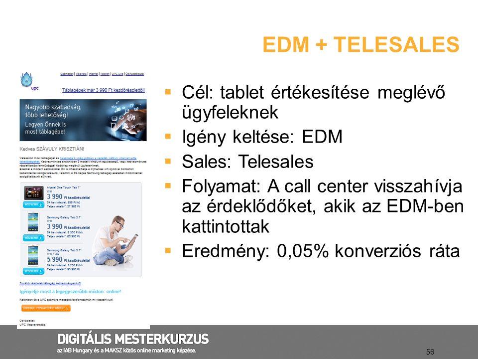 EDM + TELESALES 56  Cél: tablet értékesítése meglévő ügyfeleknek  Igény keltése: EDM  Sales: Telesales  Folyamat: A call center visszahívja az érd