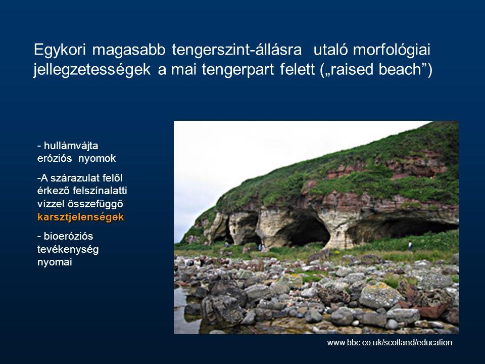 """Egykori magasabb tengerszint-állásra utaló morfológiai jellegzetességek a mai tengerpart felett (""""raised beach ) - hullámvájta eróziós nyomok karsztjelenségek -A szárazulat felől érkező felszínalatti vízzel összefüggő karsztjelenségek - bioeróziós tevékenység nyomai www.bbc.co.uk/scotland/education"""