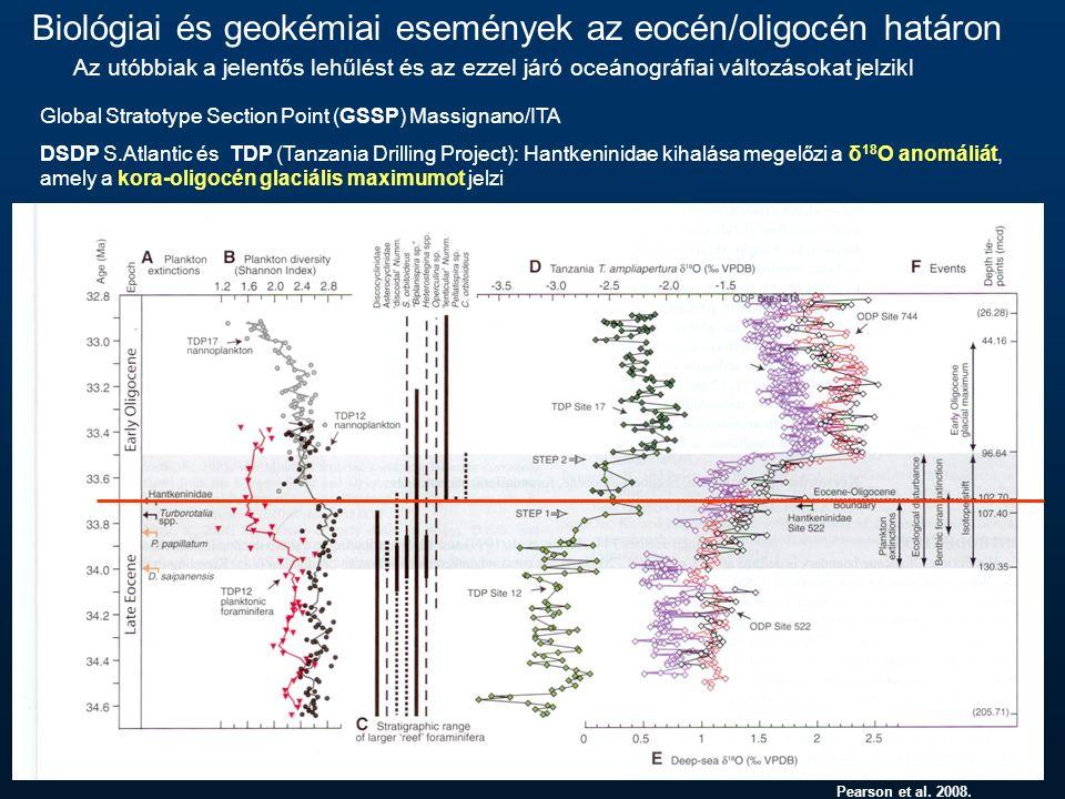 Biológiai és geokémiai események az eocén/oligocén határon Global Stratotype Section Point (GSSP) Massignano/ITA DSDP S.Atlantic és TDP (Tanzania Drilling Project): Hantkeninidae kihalása megelőzi a δ 18 O anomáliát, amely a kora-oligocén glaciális maximumot jelzi Az utóbbiak a jelentős lehűlést és az ezzel járó oceánográfiai változásokat jelzikl Pearson et al.