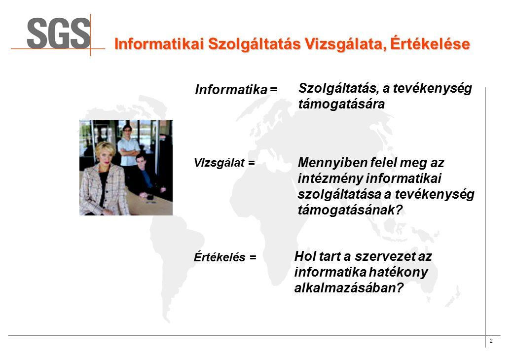 2 Informatikai Szolgáltatás Vizsgálata, Értékelése Informatika = Szolgáltatás, a tevékenység támogatására Vizsgálat = Mennyiben felel meg az intézmény informatikai szolgáltatása a tevékenység támogatásának.