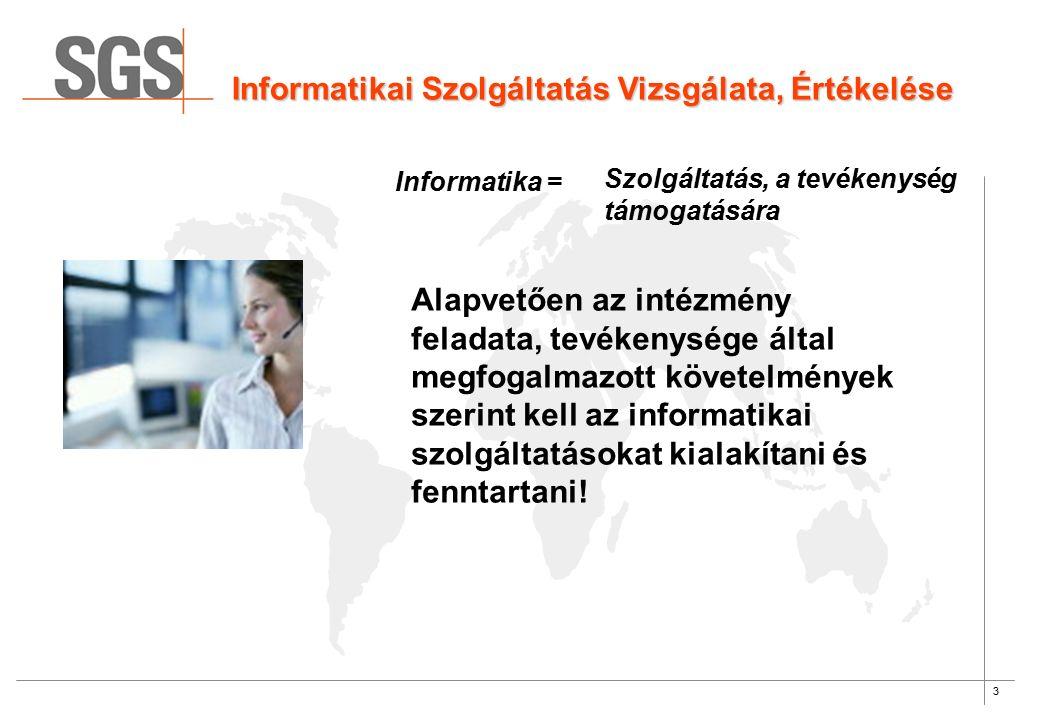 3 Informatikai Szolgáltatás Vizsgálata, Értékelése Informatika = Szolgáltatás, a tevékenység támogatására Alapvetően az intézmény feladata, tevékenysége által megfogalmazott követelmények szerint kell az informatikai szolgáltatásokat kialakítani és fenntartani!