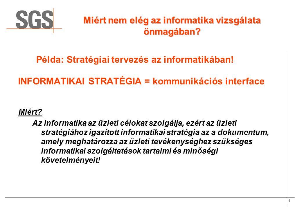 4 INFORMATIKAI STRATÉGIA = kommunikációs interface Miért? Az informatika az üzleti célokat szolgálja, ezért az üzleti stratégiához igazított informati