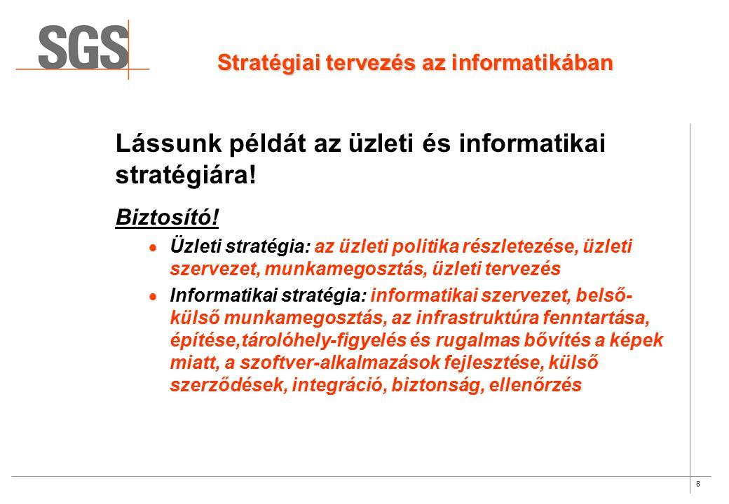 8 Stratégiai tervezés az informatikában Lássunk példát az üzleti és informatikai stratégiára.