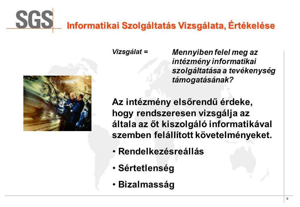 9 Informatikai Szolgáltatás Vizsgálata, Értékelése Vizsgálat = Mennyiben felel meg az intézmény informatikai szolgáltatása a tevékenység támogatásának.