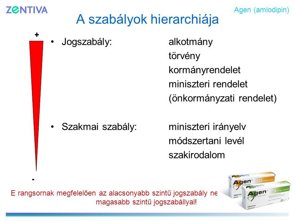 A szabályok hierarchiája Jogszabály: alkotmány törvény kormányrendelet miniszteri rendelet (önkormányzati rendelet) Szakmai szabály: miniszteri iránye