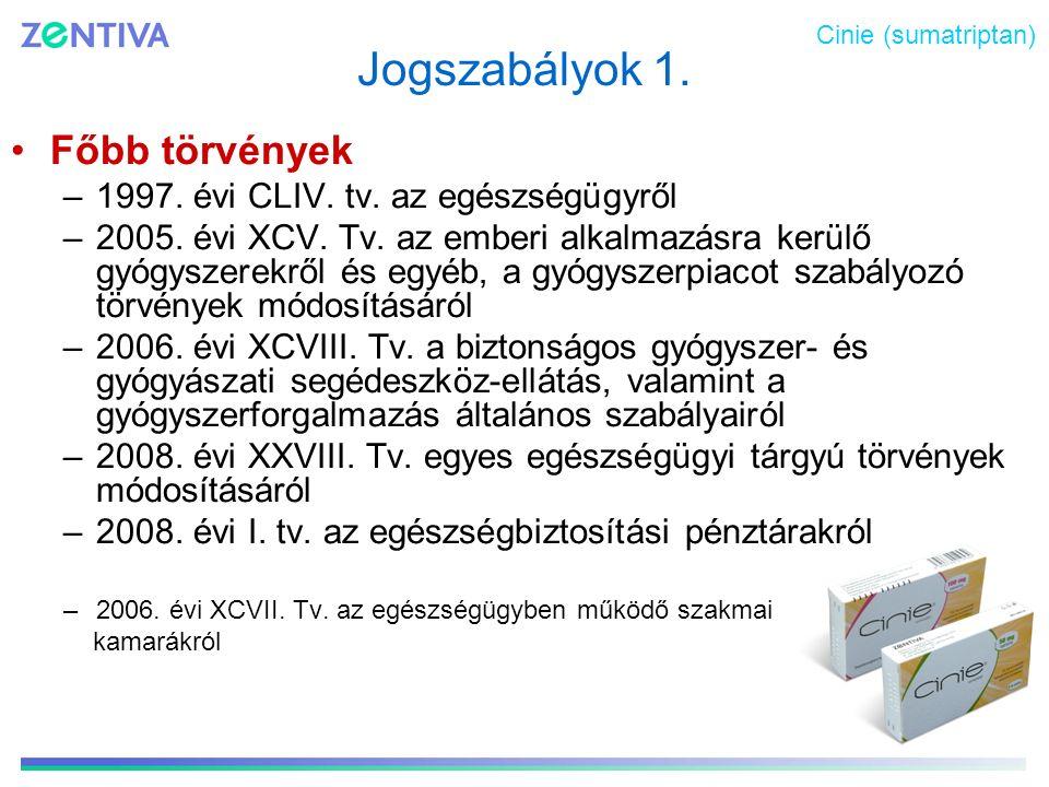 Jogszabályok 1. Főbb törvények –1997. évi CLIV. tv. az egészségügyről –2005. évi XCV. Tv. az emberi alkalmazásra kerülő gyógyszerekről és egyéb, a gyó