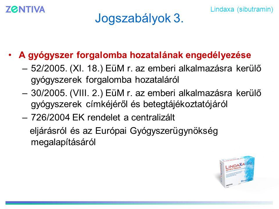 Jogszabályok 3. A gyógyszer forgalomba hozatalának engedélyezése –52/2005. (XI. 18.) EüM r. az emberi alkalmazásra kerülő gyógyszerek forgalomba hozat