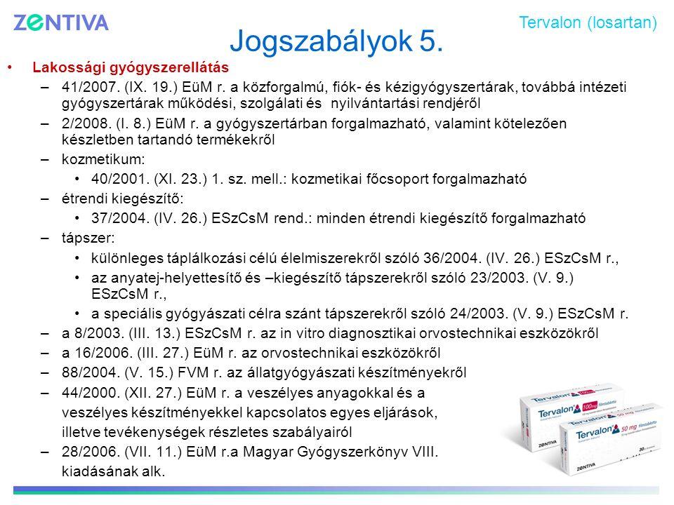Jogszabályok 5. Lakossági gyógyszerellátás –41/2007. (IX. 19.) EüM r. a közforgalmú, fiók- és kézigyógyszertárak, továbbá intézeti gyógyszertárak műkö