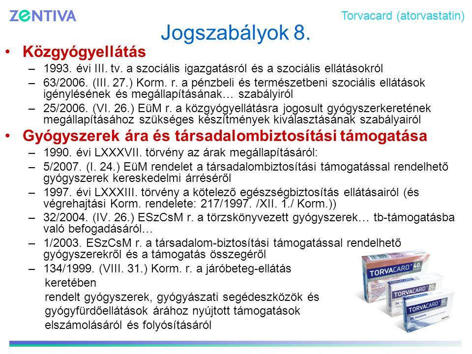 Jogszabályok 8. Közgyógyellátás –1993. évi III. tv. a szociális igazgatásról és a szociális ellátásokról –63/2006. (III. 27.) Korm. r. a pénzbeli és t