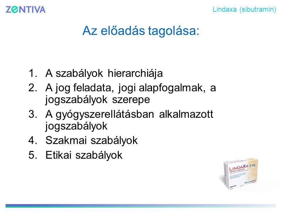 Az előadás tagolása: 1.A szabályok hierarchiája 2.A jog feladata, jogi alapfogalmak, a jogszabályok szerepe 3.A gyógyszerellátásban alkalmazott jogsza