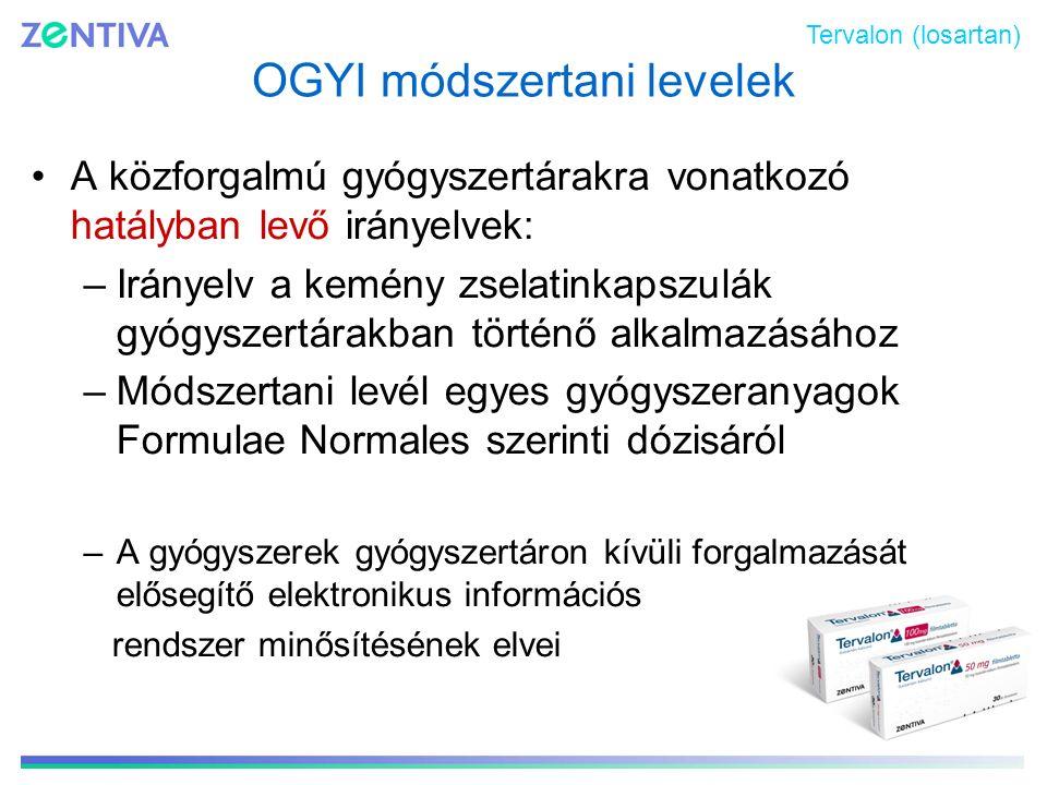 OGYI módszertani levelek A közforgalmú gyógyszertárakra vonatkozó hatályban levő irányelvek: –Irányelv a kemény zselatinkapszulák gyógyszertárakban tö