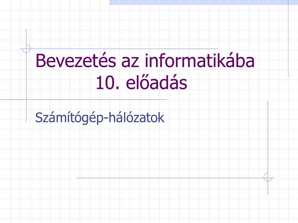 Bevezetés az informatikába 10. előadás Számítógép-hálózatok