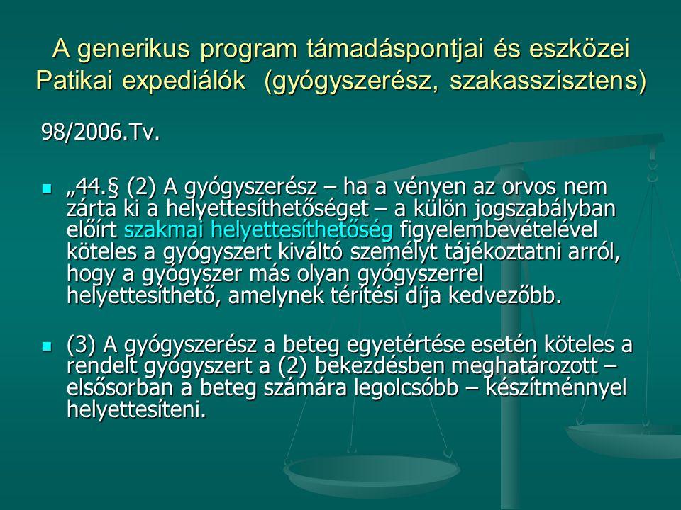 """A generikus program támadáspontjai és eszközei Patikai expediálók (gyógyszerész, szakasszisztens) 98/2006.Tv. """"44.§ (2) A gyógyszerész – ha a vényen a"""