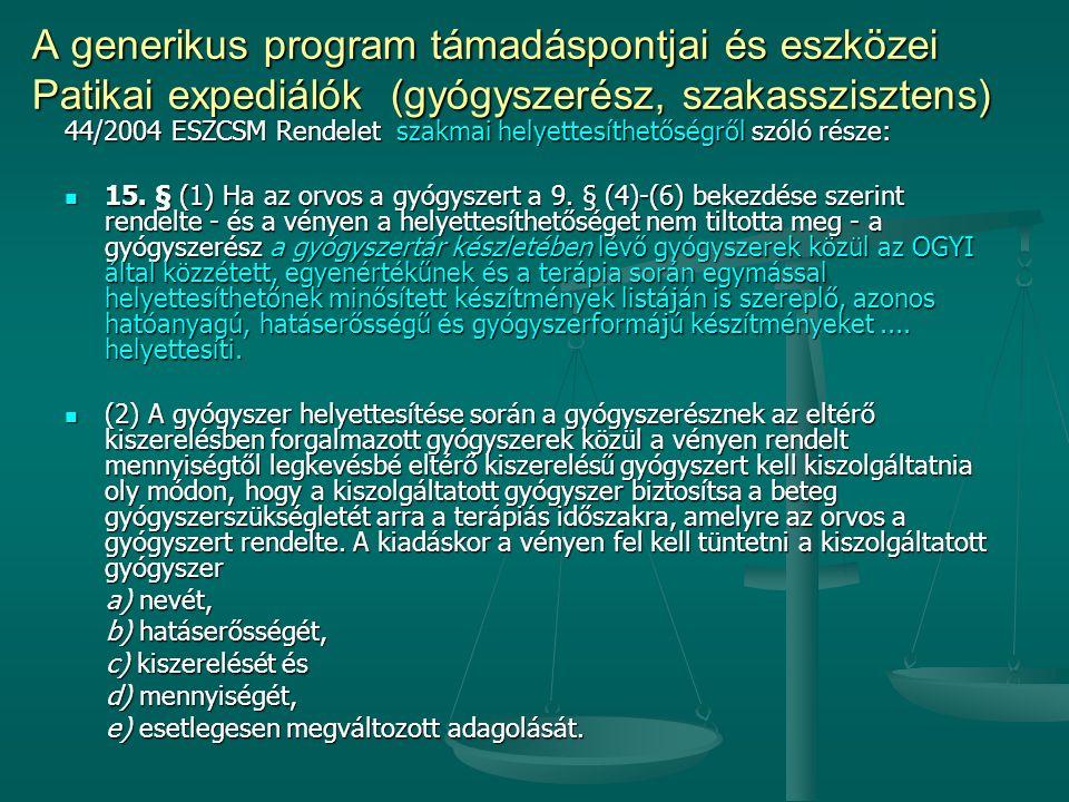 44/2004 ESZCSM Rendelet szakmai helyettesíthetőségről szóló része: 15. § (1) Ha az orvos a gyógyszert a 9. § (4)-(6) bekezdése szerint rendelte - és a