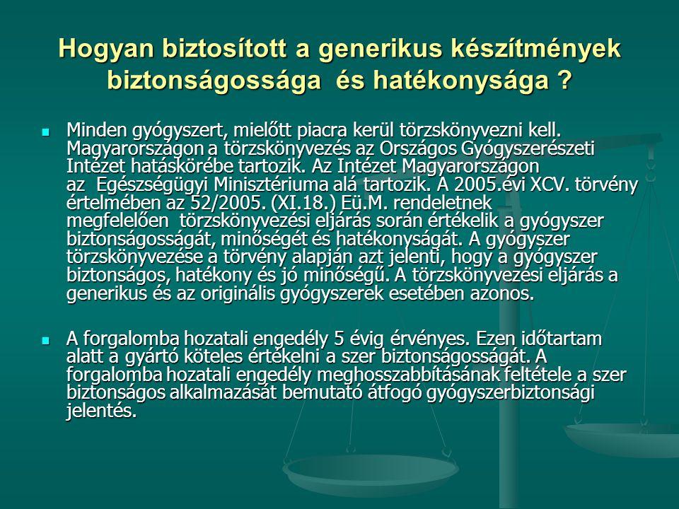 Hogyan biztosított a generikus készítmények biztonságossága és hatékonysága ? Minden gyógyszert, mielőtt piacra kerül törzskönyvezni kell. Magyarorszá