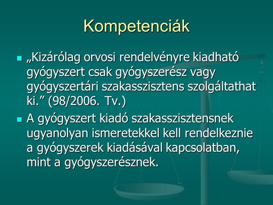"""Kompetenciák """"Kizárólag orvosi rendelvényre kiadható gyógyszert csak gyógyszerész vagy gyógyszertári szakasszisztens szolgáltathat ki."""" (98/2006. Tv.)"""