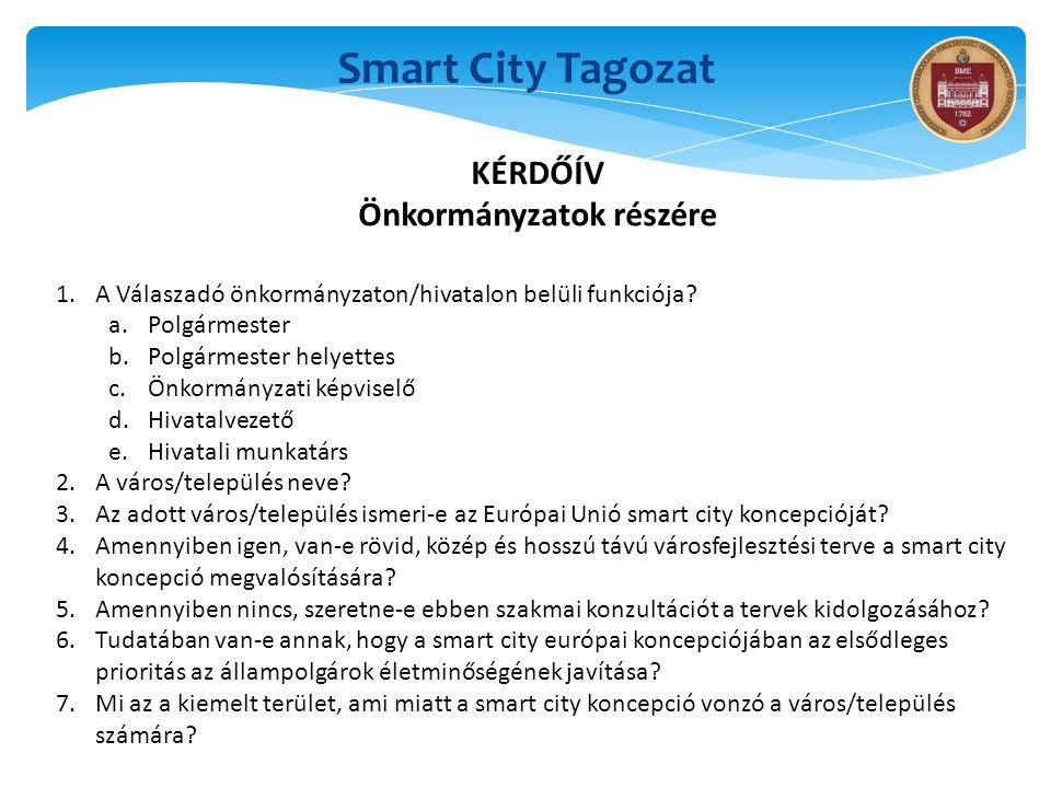 Smart City Tagozat KÉRDŐÍV Önkormányzatok részére 1.A Válaszadó önkormányzaton/hivatalon belüli funkciója? a.Polgármester b.Polgármester helyettes c.Ö