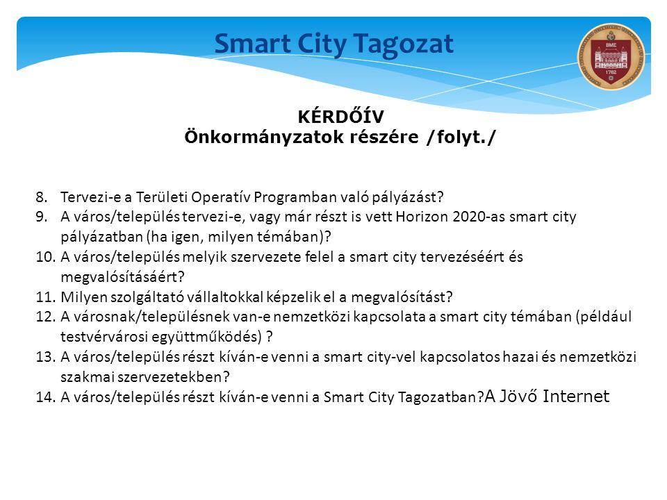 Smart City Tagozat KÉRDŐÍV Önkormányzatok részére /folyt./ 8.Tervezi-e a Területi Operatív Programban való pályázást? 9.A város/település tervezi-e, v
