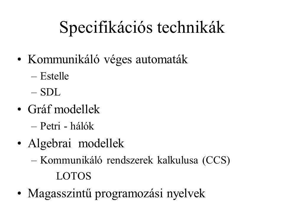 Specifikációs technikák Kommunikáló véges automaták –Estelle –SDL Gráf modellek –Petri - hálók Algebrai modellek –Kommunikáló rendszerek kalkulusa (CCS) LOTOS Magasszintű programozási nyelvek