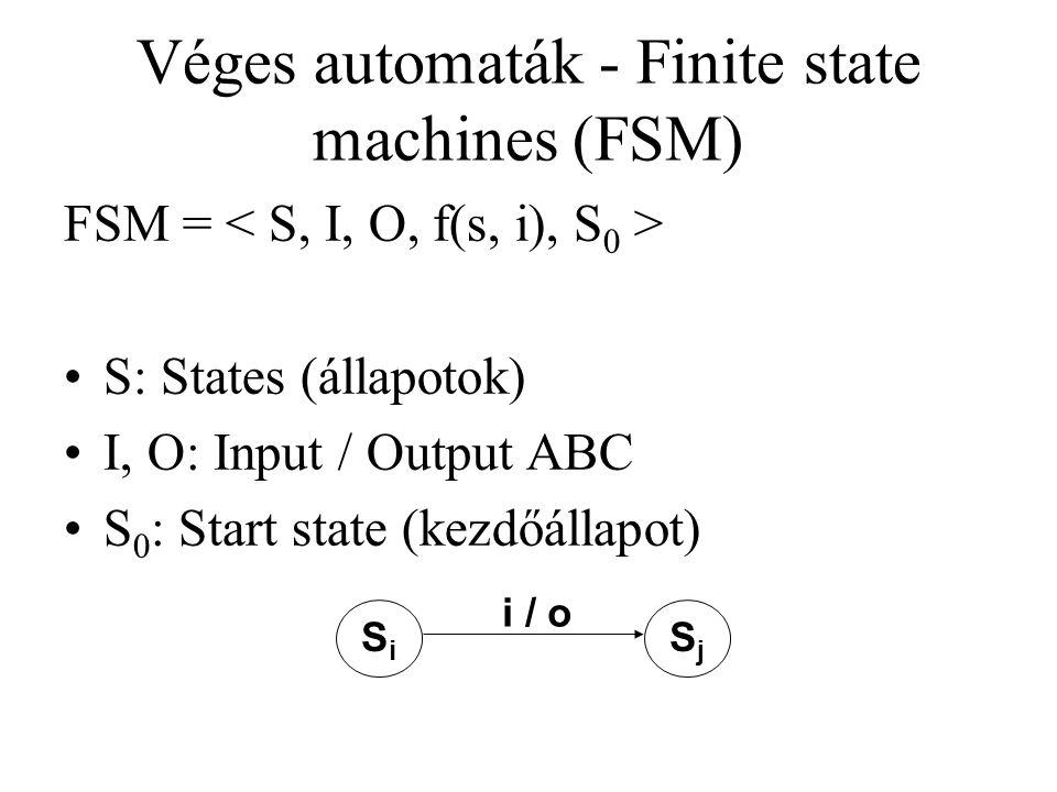 Véges automaták - Finite state machines (FSM) FSM = S: States (állapotok) I, O: Input / Output ABC S 0 : Start state (kezdőállapot) SiSi SjSj i / o