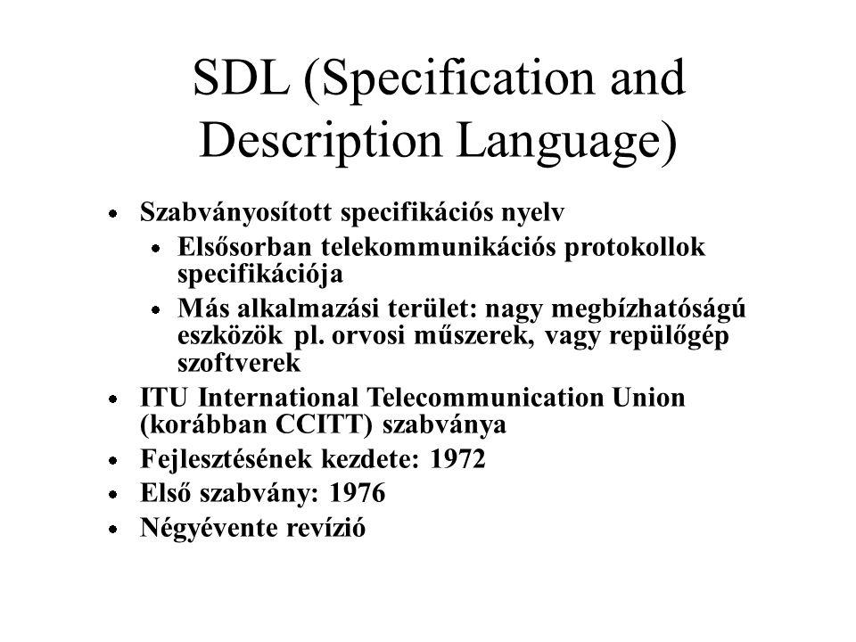 SDL (Specification and Description Language)  Szabványosított specifikációs nyelv  Elsősorban telekommunikációs protokollok specifikációja  Más alkalmazási terület: nagy megbízhatóságú eszközök pl.