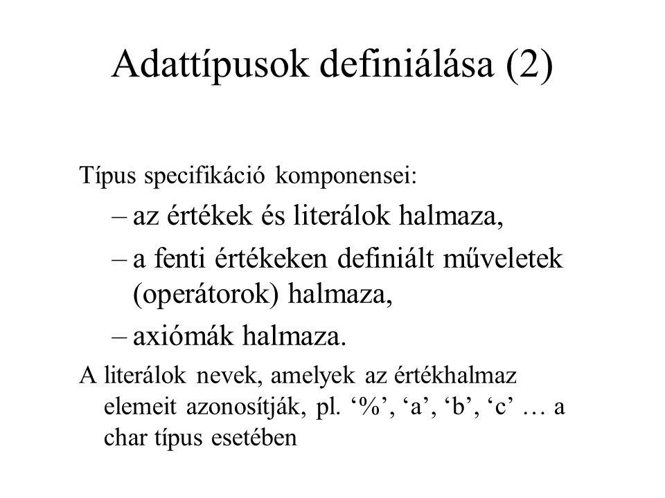 Adattípusok definiálása (2) Típus specifikáció komponensei: –az értékek és literálok halmaza, –a fenti értékeken definiált műveletek (operátorok) halmaza, –axiómák halmaza.