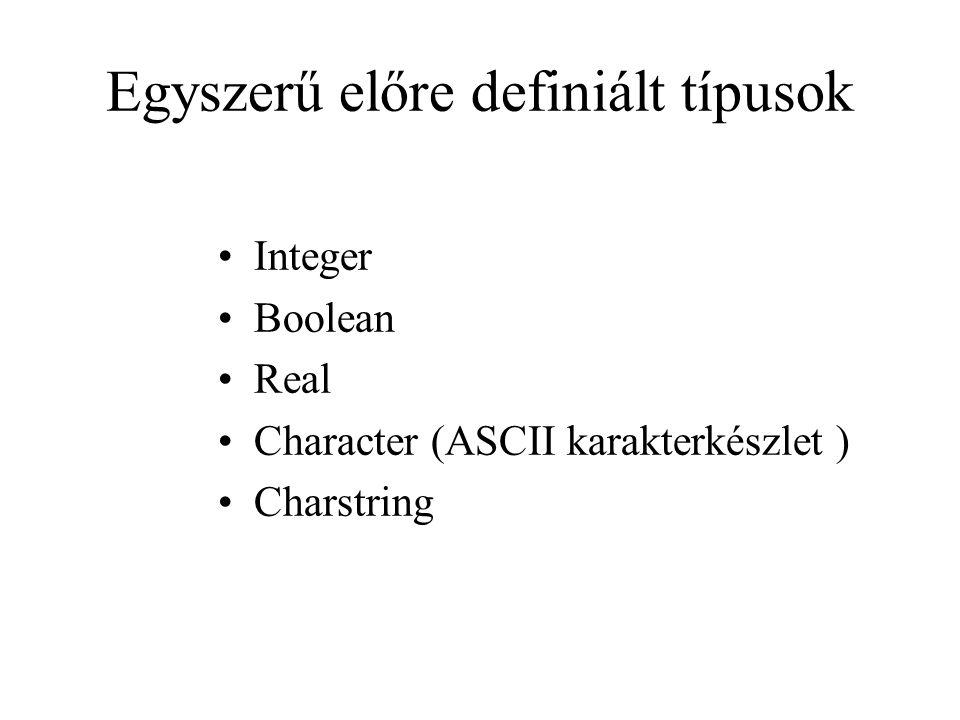 Egyszerű előre definiált típusok Integer Boolean Real Character (ASCII karakterkészlet ) Charstring