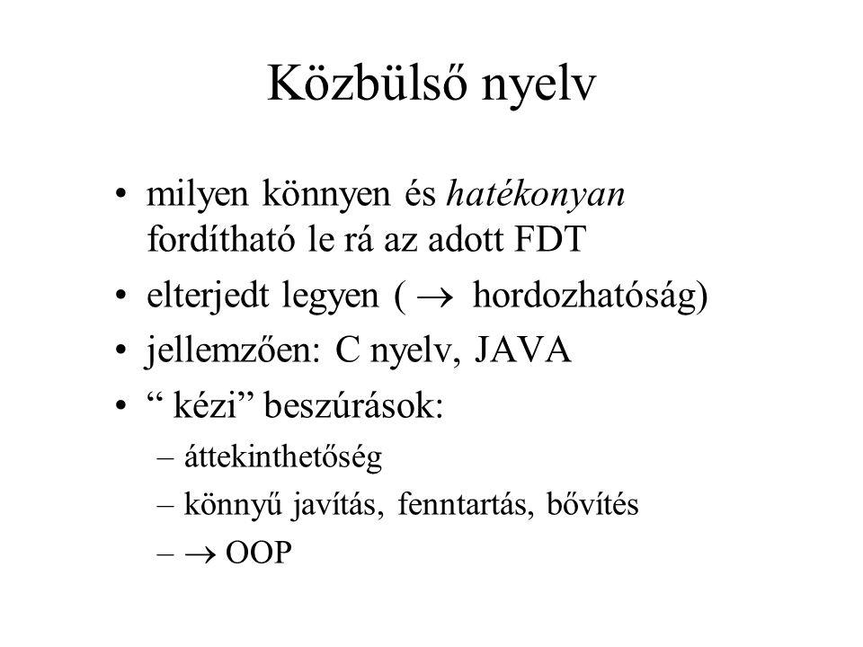 Közbülső nyelv milyen könnyen és hatékonyan fordítható le rá az adott FDT elterjedt legyen (  hordozhatóság) jellemzően: C nyelv, JAVA kézi beszúrások: –áttekinthetőség –könnyű javítás, fenntartás, bővítés –  OOP
