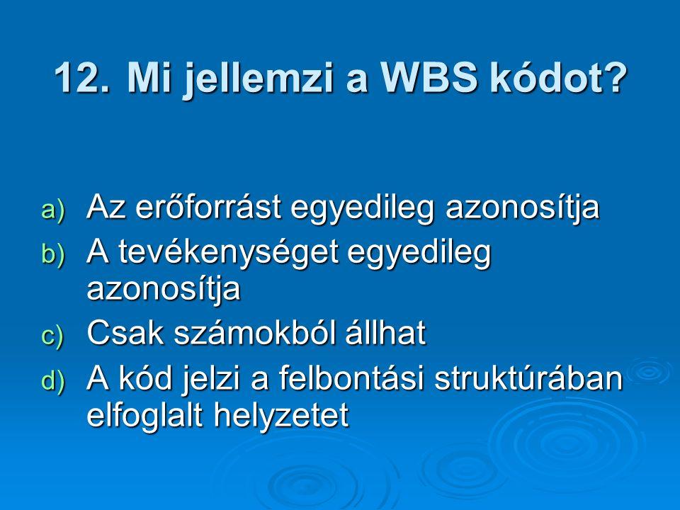 12. Mi jellemzi a WBS kódot? a) Az erőforrást egyedileg azonosítja b) A tevékenységet egyedileg azonosítja c) Csak számokból állhat d) A kód jelzi a f